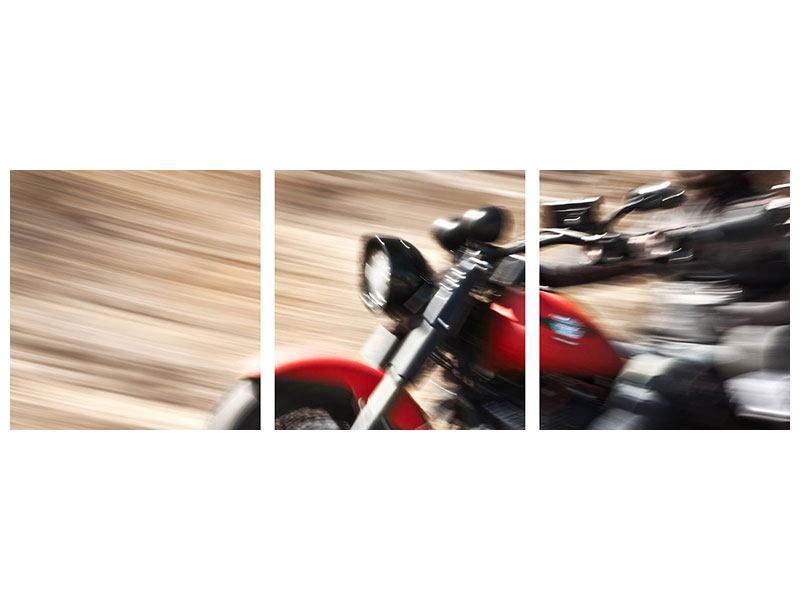 Panorama Poster 3-teilig Biker