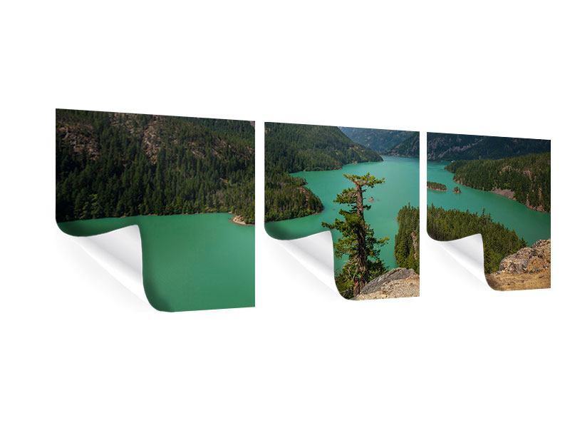 Panorama Poster 3-teilig Diablo Bergsee