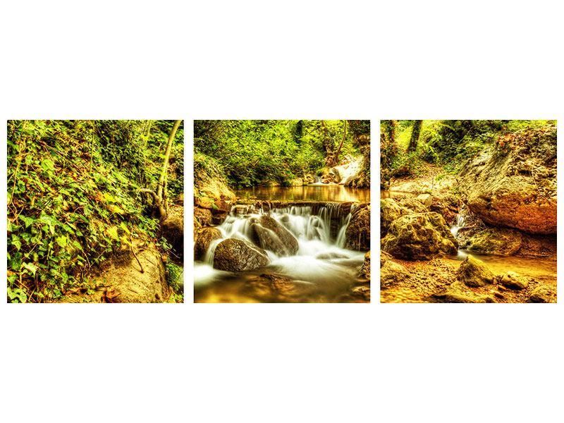 Panorama Poster 3-teilig Wasserfall im Wald