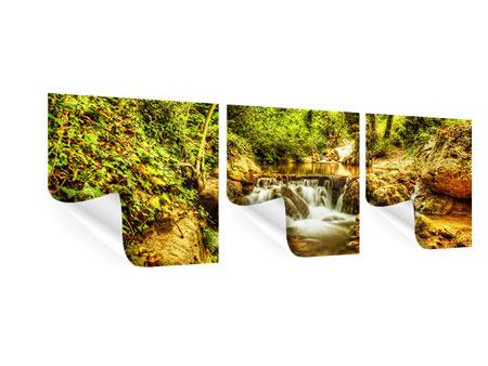 Panoramic 3 Piece Poster Waterfall In The Forest