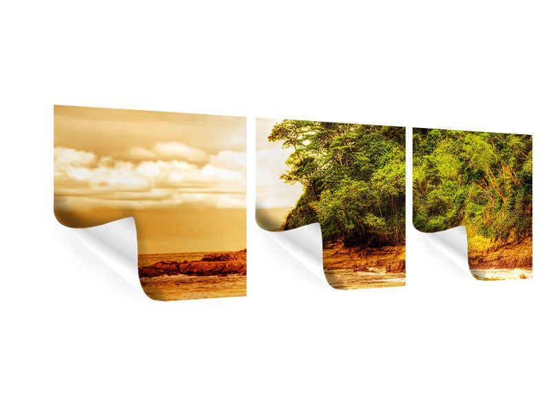 Panorama Poster 3-teilig Sonnenuntergang am Ende des Waldes