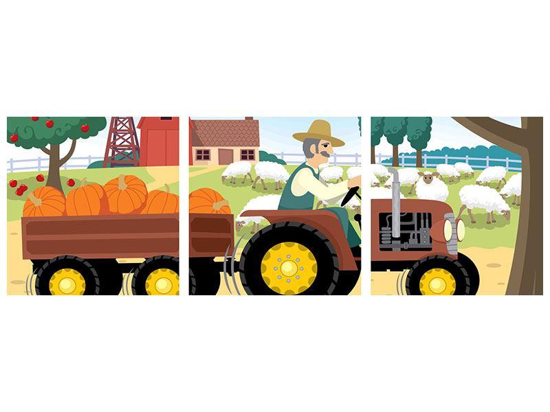 Panorama Poster 3-teilig Bauernhof
