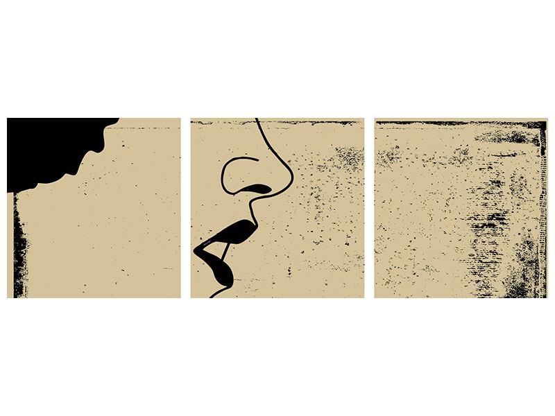 Panorama Poster 3-teilig Frauenportrait im Grungestil
