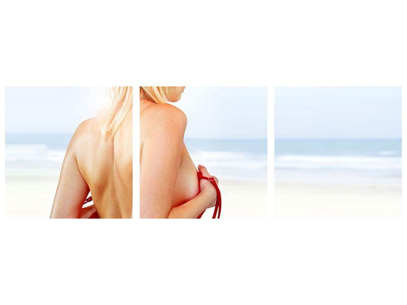 Panorama Poster 3-teilig Rücken einer Schönheit