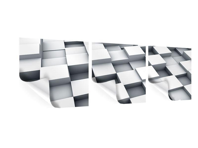 Panorama Poster 3-teilig 3D-Kubus