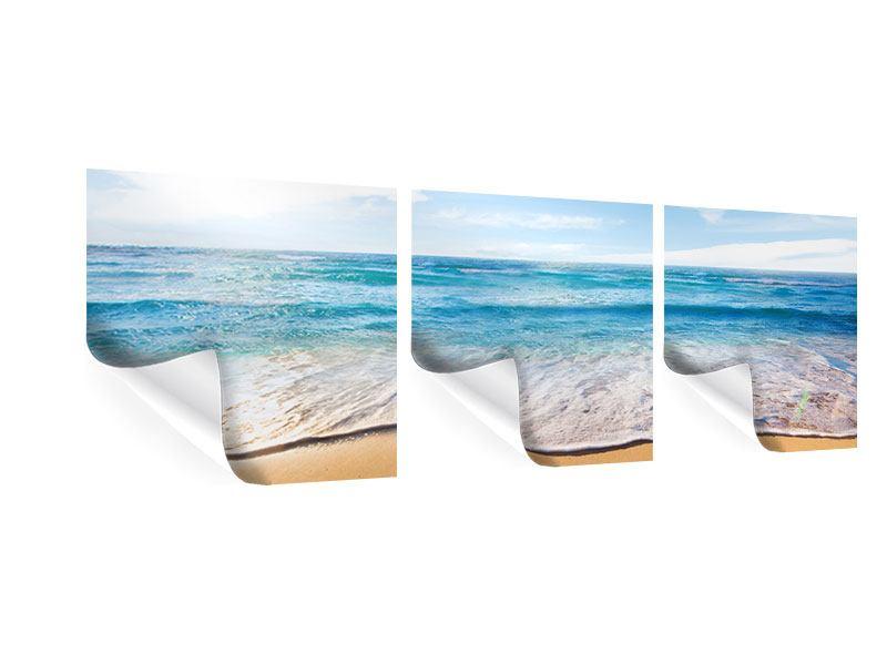 Panorama Poster 3-teilig Spuren im Sand