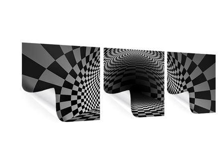 Panorama Poster 3-teilig Abstraktes Schachbrett