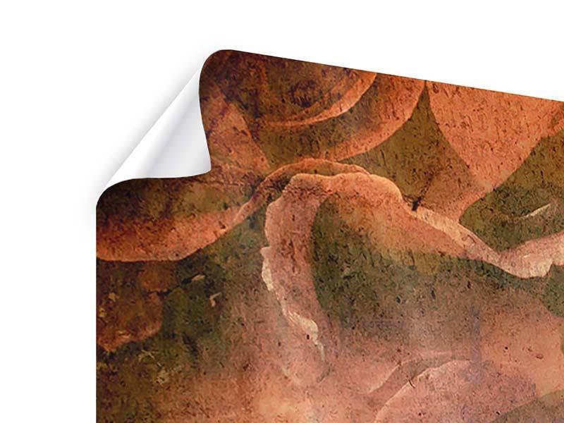 Panorama Poster 3-teilig Rosenbukett