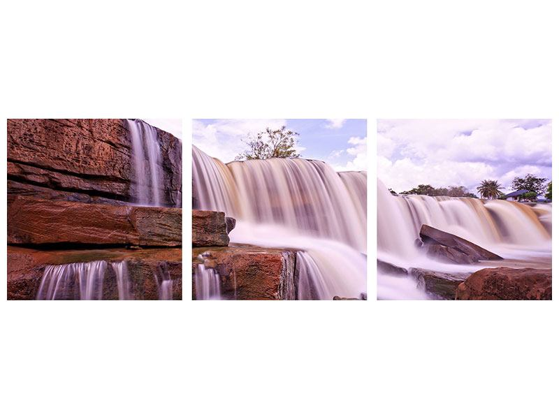 Panorama Poster 3-teilig Himmlischer Wasserfall