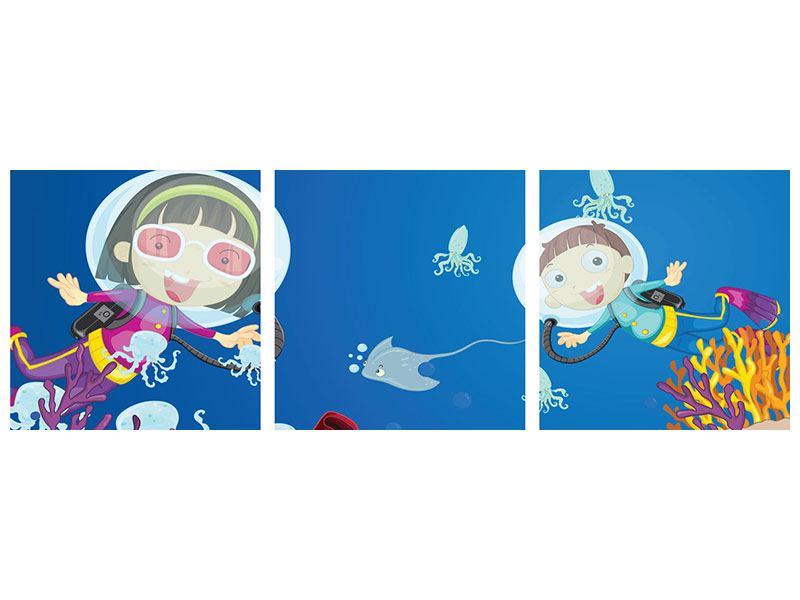 Panorama Poster 3-teilig Fröhliche Fische
