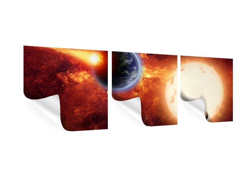 Panorama Poster 3-teilig Der Kosmos