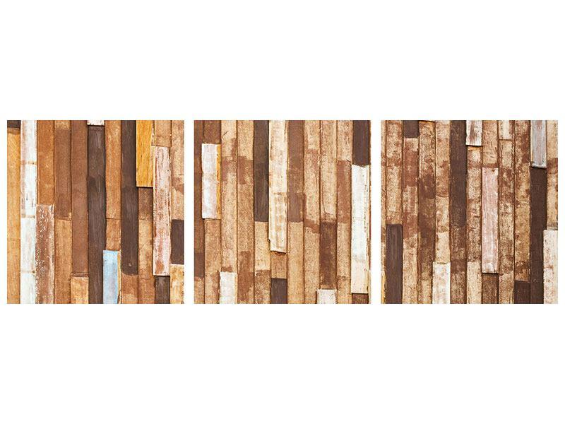 Panorama Poster 3-teilig Designholz