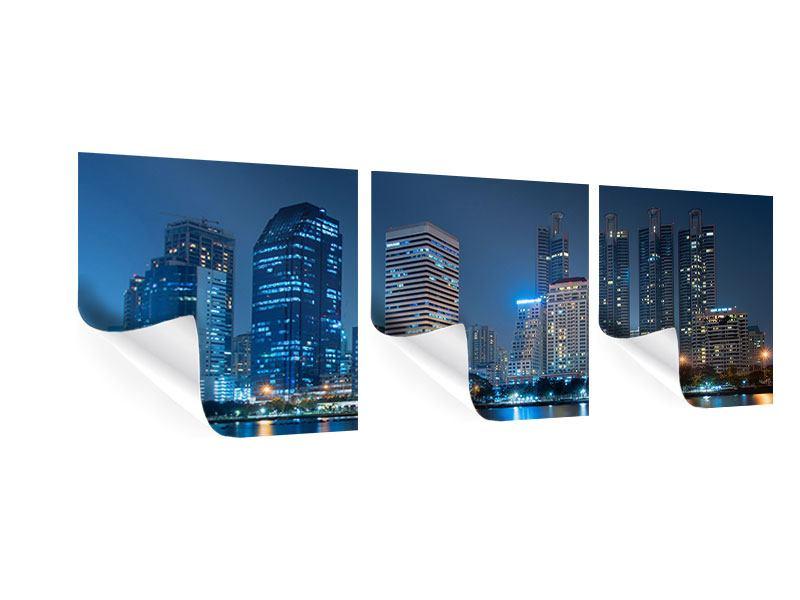 Panorama Poster 3-teilig Skyline Bangkok bei Nacht