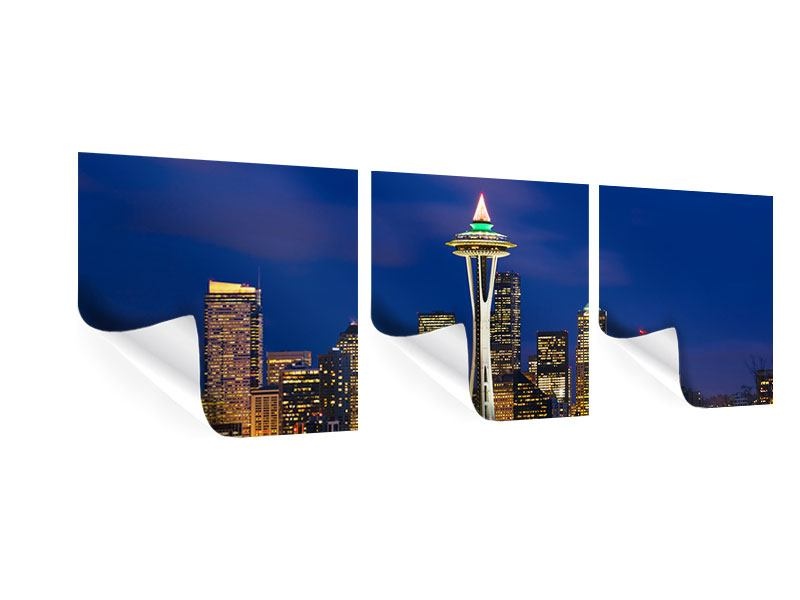 Panorama Poster 3-teilig Skyline Seattle
