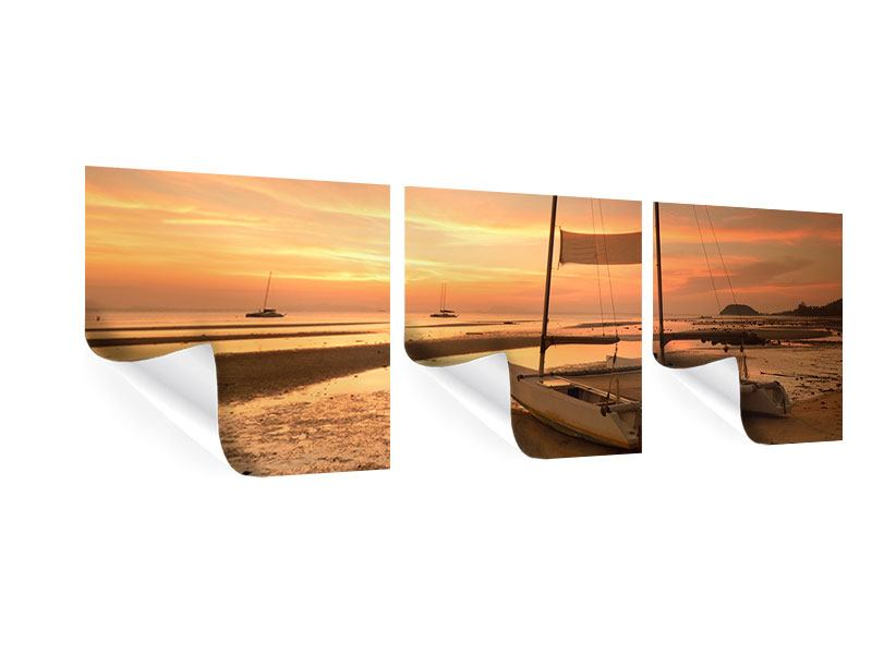 Panorama Poster 3-teilig Sonnenuntergang am Strand