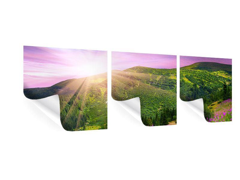 Panorama Poster 3-teilig Eine Sommerlandschaft bei Sonnenaufgang