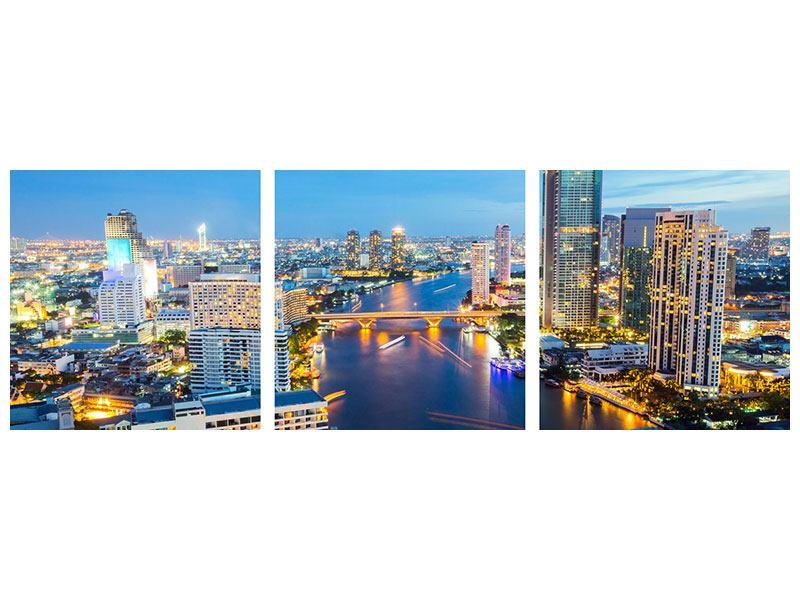Panorama Poster 3-teilig Skyline Bangkok bei Sonnenuntergang