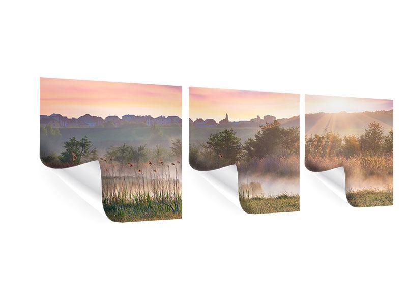 Panorama Poster 3-teilig Sonnenuntergang am Hügel