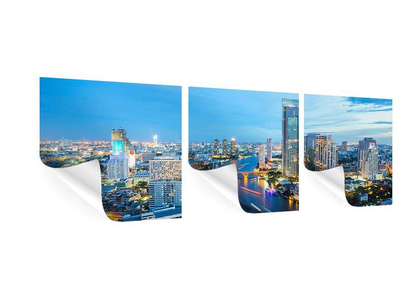 Panorama Poster 3-teilig Skyline Bangkok in der Abenddämmerung