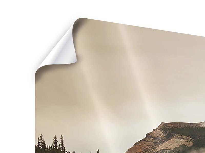 Panorama Poster 3-teilig Spiegelung im Glacier Nationalpark