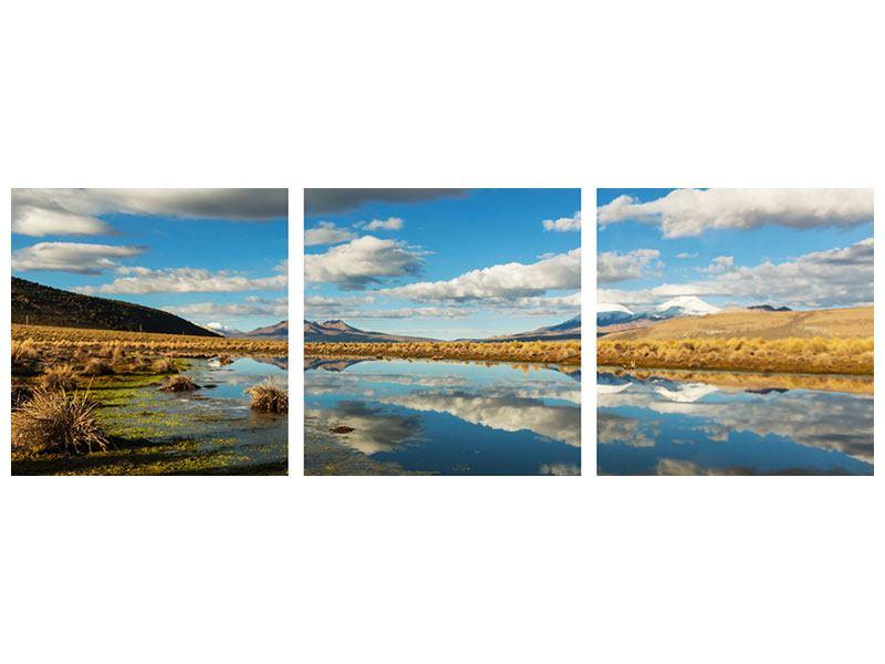 Panorama Poster 3-teilig Wasserspiegelung am See