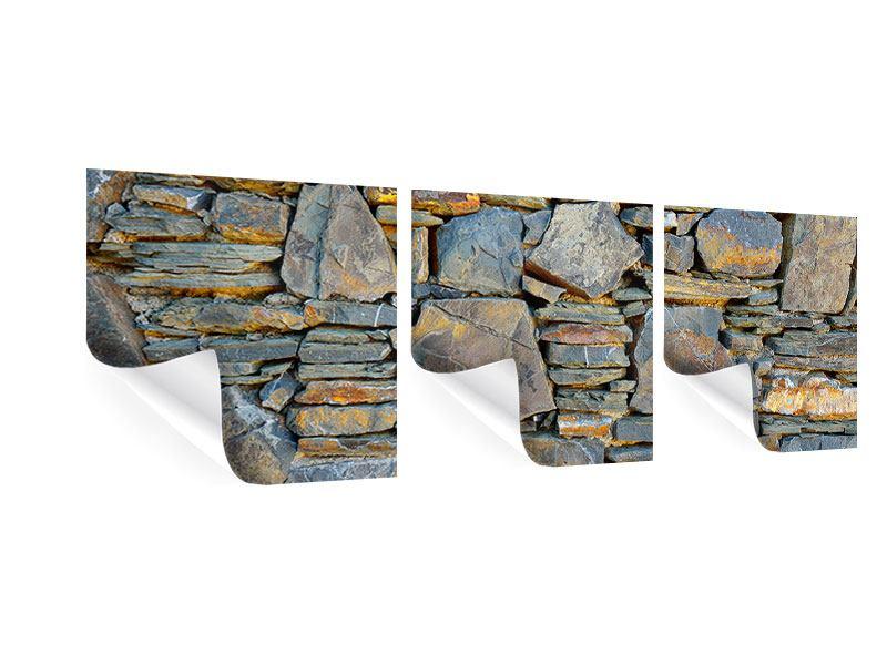 Panorama Poster 3-teilig Natürliche Steinmauer