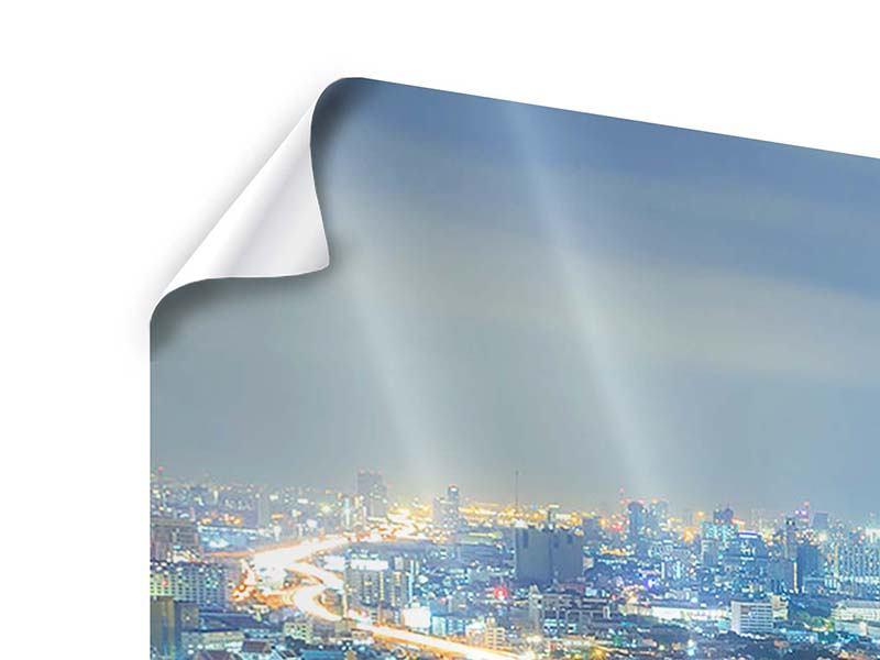 Panorama Poster 3-teilig Skyline Bangkok im Fieber der Nacht