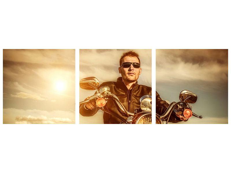 Panorama Poster 3-teilig Der Coole Biker