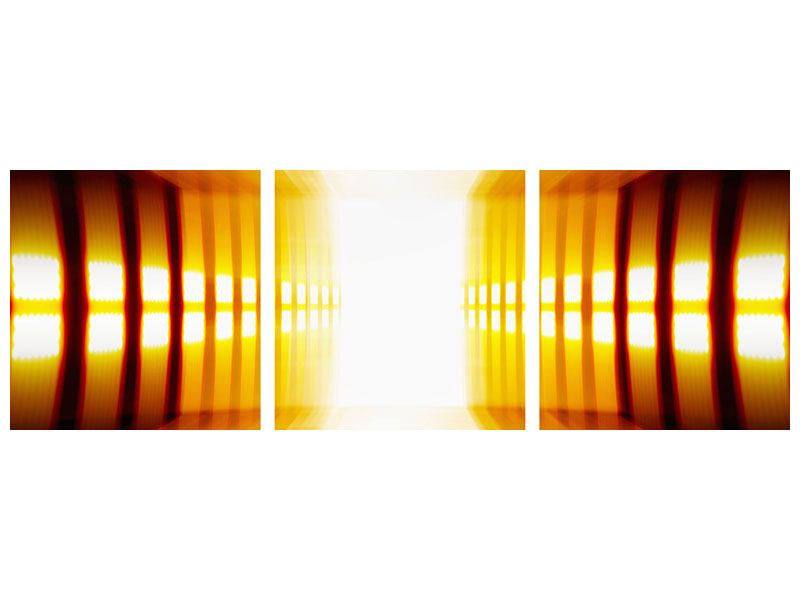 Panorama Poster 3-teilig Abstrakter Goldener Raum