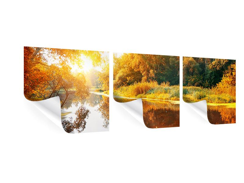 Panorama Poster 3-teilig Waldspiegelung im Wasser