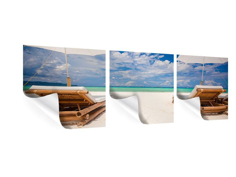Panorama Poster 3-teilig Liegen am Strand
