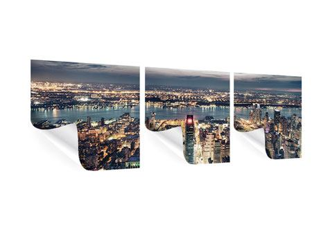 Panorama Poster 3-teilig Skyline Manhattan Citylights