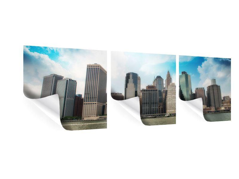 Panorama Poster 3-teilig Skyline Lower Manhattan