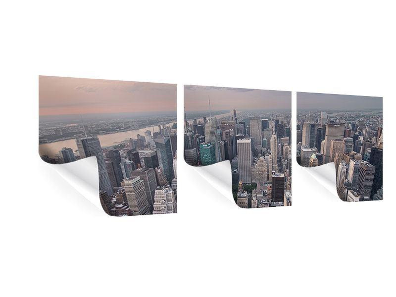 Panorama Poster 3-teilig Skyline Blick über Manhattan