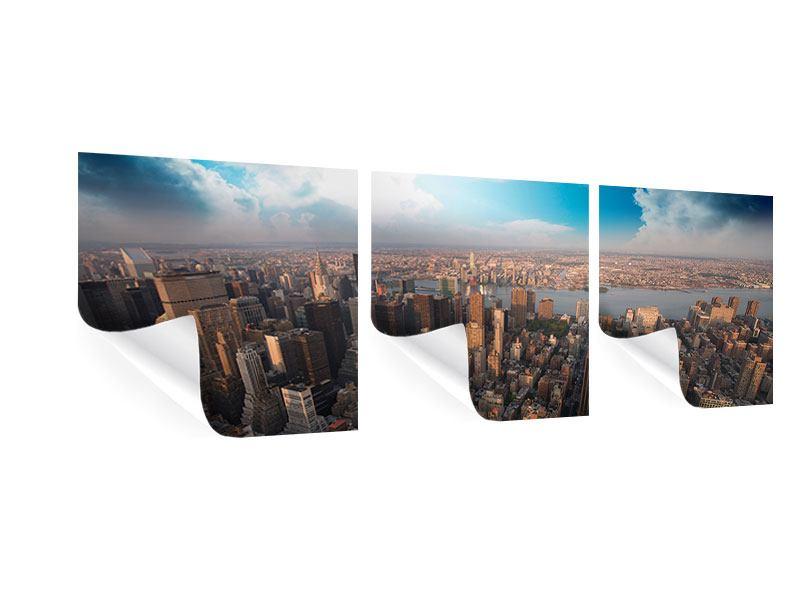 Panorama Poster 3-teilig Skyline Über den Dächern von Manhattan