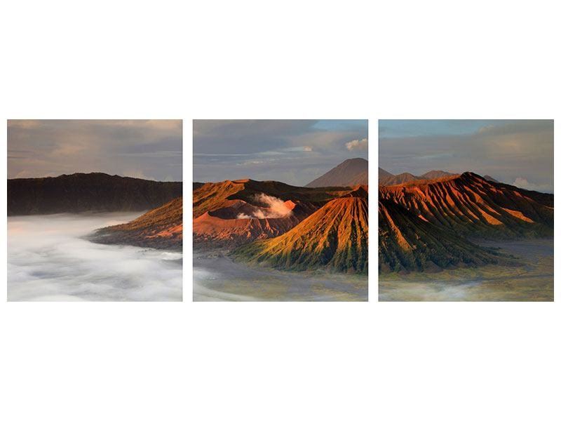 Panorama Poster 3-teilig Der Bromo Vulkan