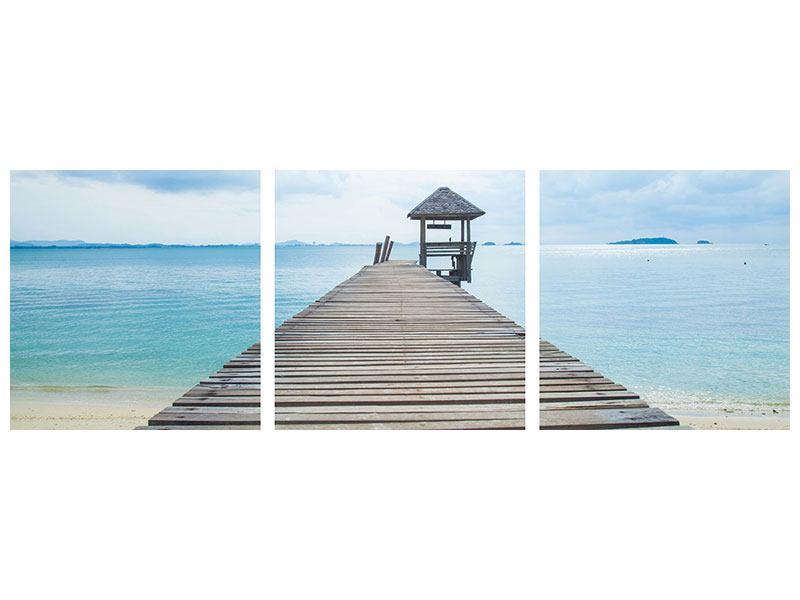 Panorama Poster 3-teilig Ozean-Steg