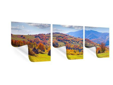 Panorama Poster 3-teilig Herbstliche Berglandschaft