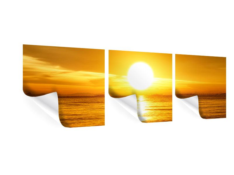 Panorama Poster 3-teilig Traumhafter Sonnenuntergang