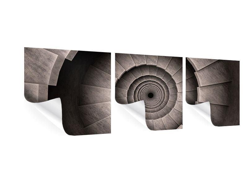 Panorama Poster 3-teilig Steinwendeltreppe