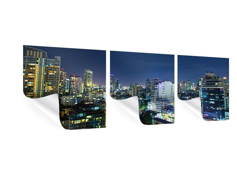 Panorama Poster 3-teilig Skyline Nachts in Bangkok
