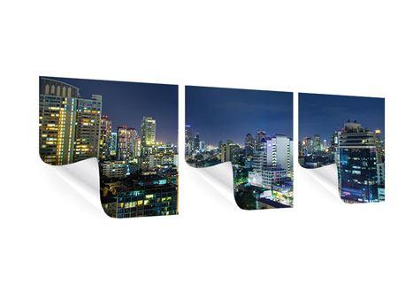 Panorama Poster 3-teilig Skyline Nachts in Bangkok