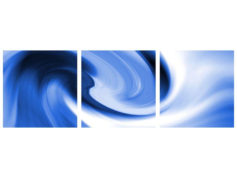 Panorama Poster 3-teilig Abstrakte blaue Welle