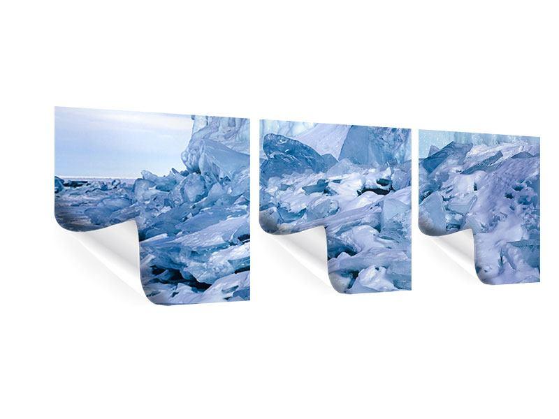 Panorama Poster 3-teilig Eislandschaft Baikalsee