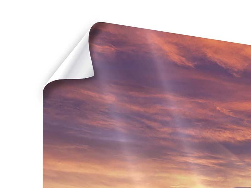 Panorama Poster 3-teilig Sonnenaufgang Winterlandschaft
