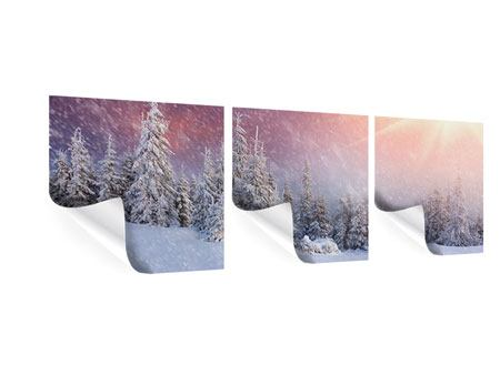 Panorama Poster 3-teilig Mystischer Schneesturm