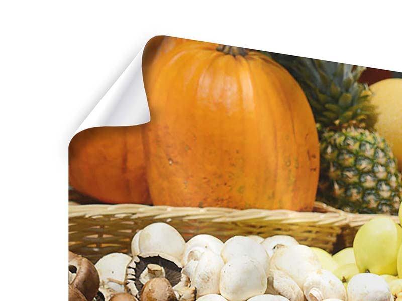 Panorama Poster 3-teilig Obstmarkt
