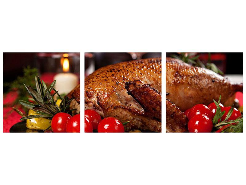 Panorama Poster 3-teilig Köstliches Geflügel