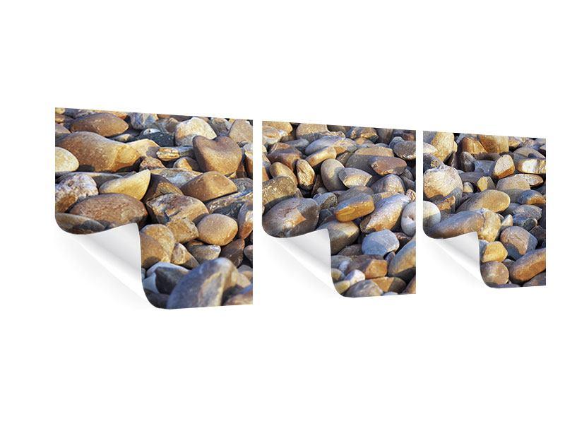 Panorama Poster 3-teilig Strandsteine