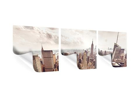 Panorama Poster 3-teilig Skyline Über den Dächern Manhattans